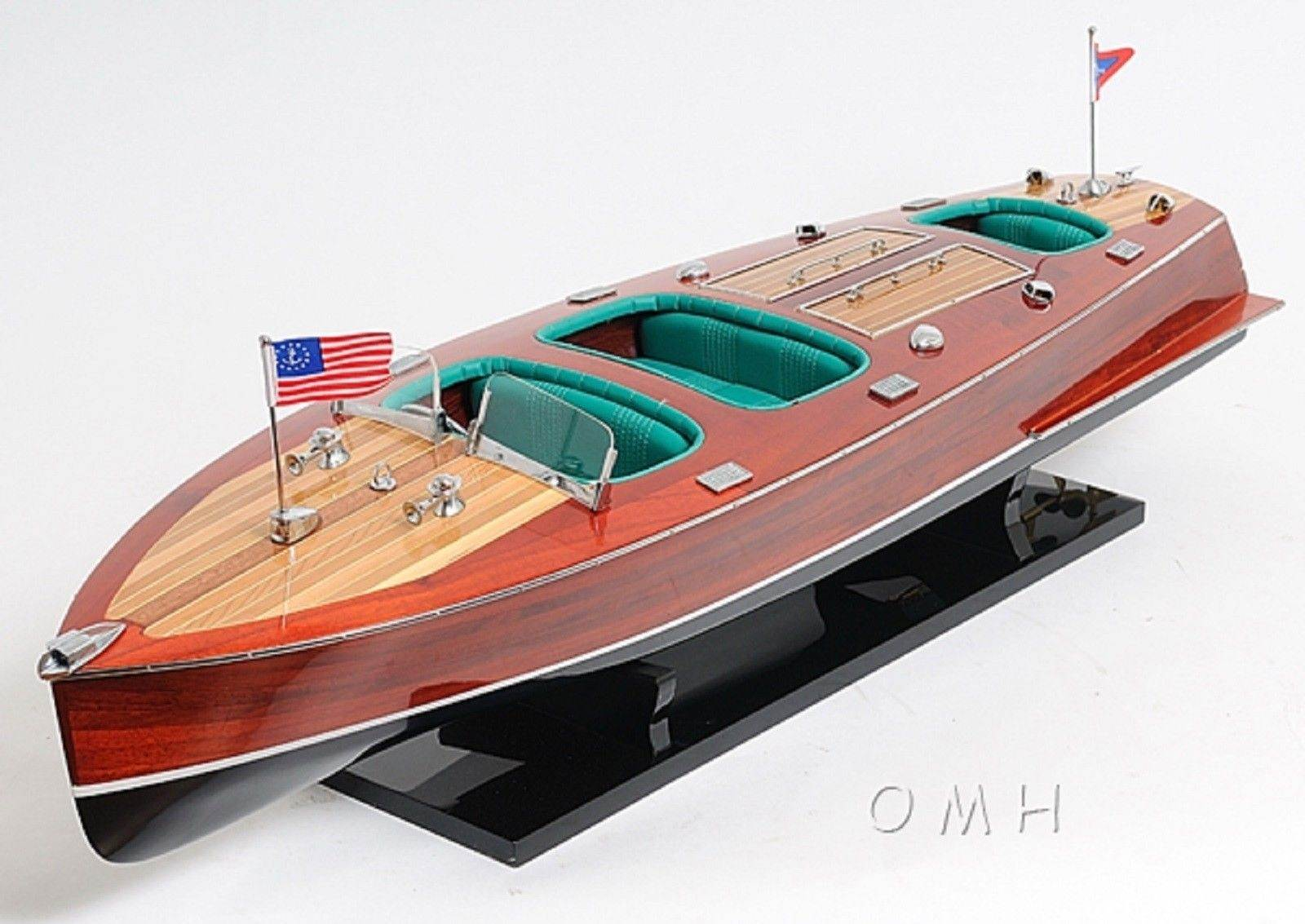 1930s Chris Craft Triple Cockpit Runabout Wooden Boat Model Replica