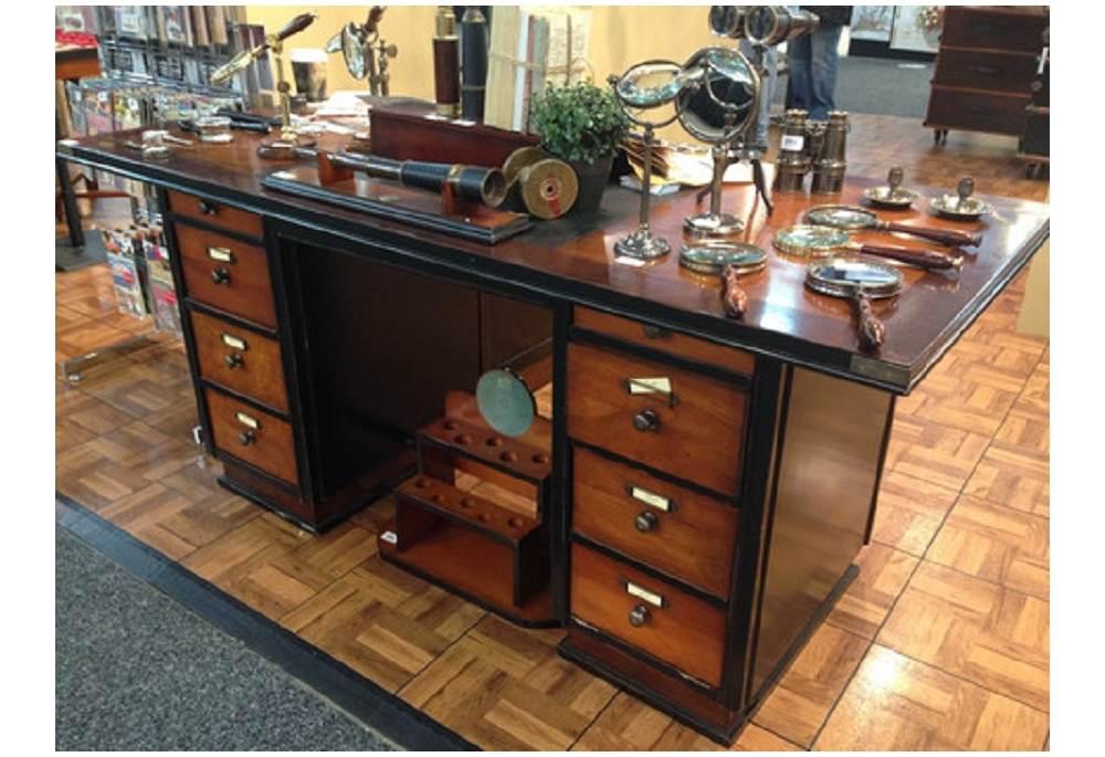 Captain S Office Desk Black Wooden Nautical Maritime Furniture