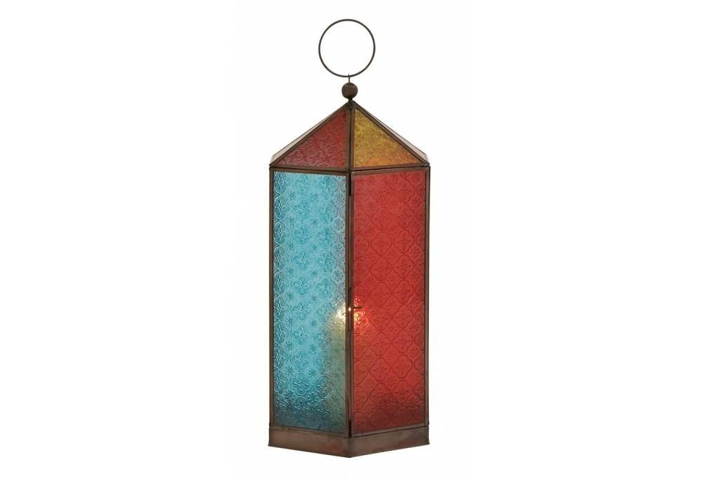 Colorful Coastal Decorative Metal Glass Lantern