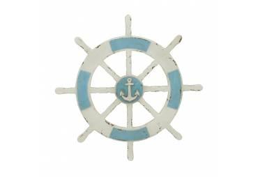 Rustic Sheep Wheel with Anchor Nautical Wall Decor