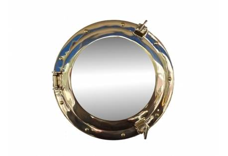 "Brass Porthole Mirror 14"""