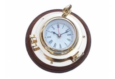 "Brass Porthole Clock 10"""