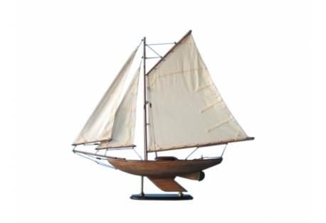 Decorative Rustic Wooden Sloop Sailboat Model