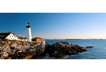 Lighthouse on the coast, Portland Head Lighthouse, Ram Island Ledge Light, Portland, Cumberland County, Maine, USA