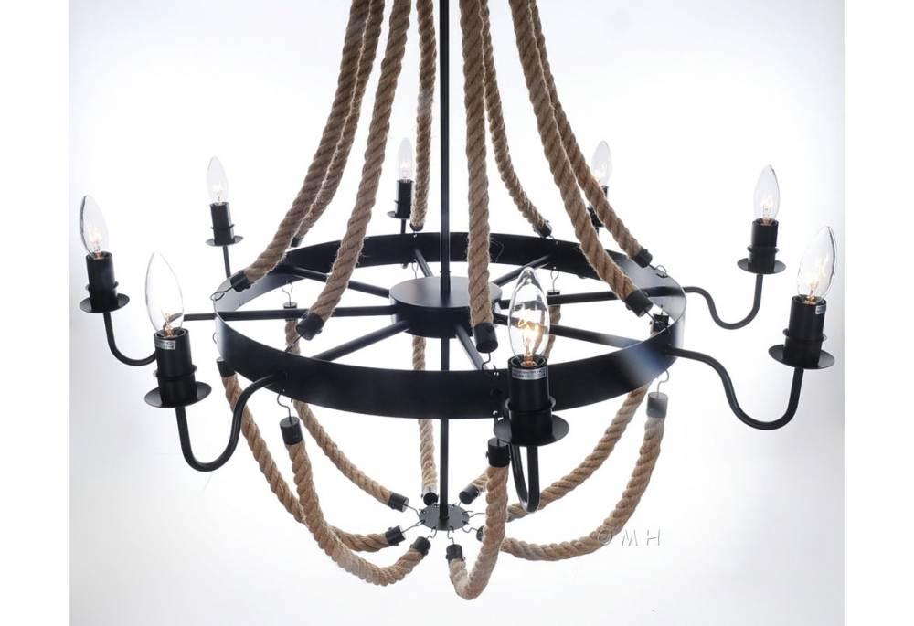 Nautical Themed Large Rope Pendant 8 Bulbs