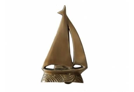 "Solid Brass Sailboat Door Knocker 6"""
