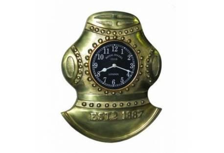 """Antique Solid Brass Divers Helmet Clock 17"""""""