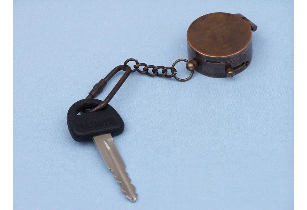 Antique Copper Compass Key Chain With Lid