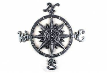 "Antique Silver Cast Iron Large Decorative Rose Compass 19"""