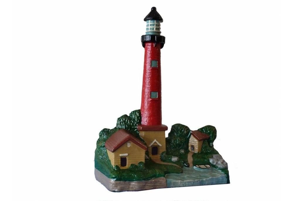 Cast Iron Red Lighthouse Door Stop 12\