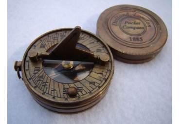Brass Pocket Sundial Compass w/ Lid