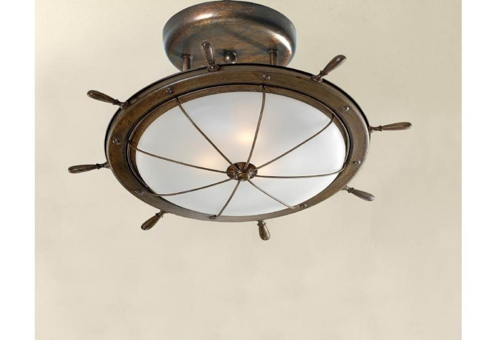 Solid brass ships wheel motif ceiling fixture mozeypictures Gallery
