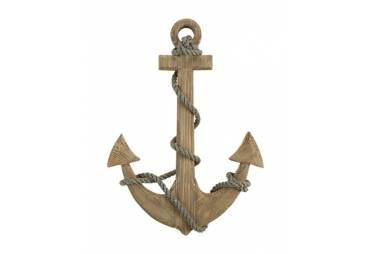 Natural Wood Anchor and Rope Nautical Wall Decor