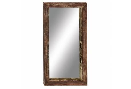 Antiqued teak wood wall mirror
