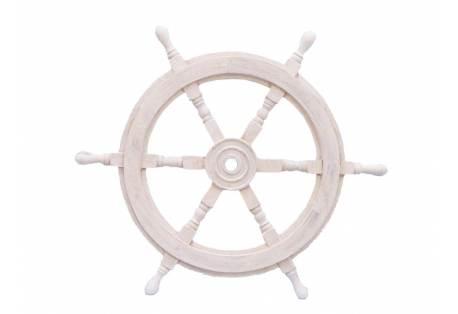 Rustic White Wooden Ship Wheel Decor
