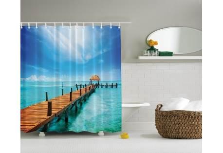 Tropical Island Gazebo on the Dock Print