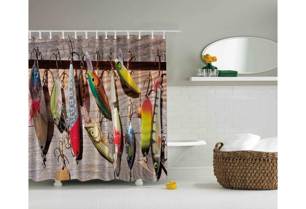 Fishing Lures And Hooks Shower Curtain