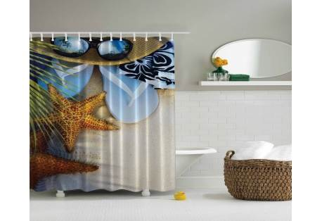 Tropical Beach Themed Shower Curtain