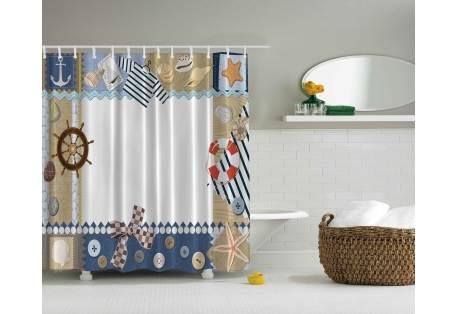 Nautical Themed Shower Curtain Ship Wheel, Sea Shells, Anchor