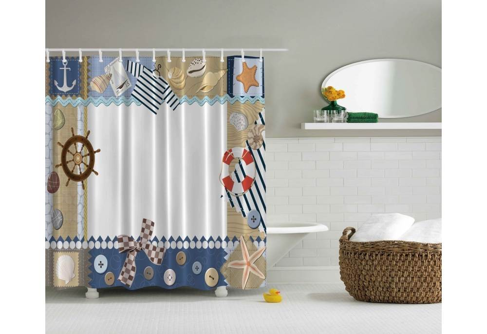Nautical Themed Shower Curtain Ship Wheel Sea Shells Anchor