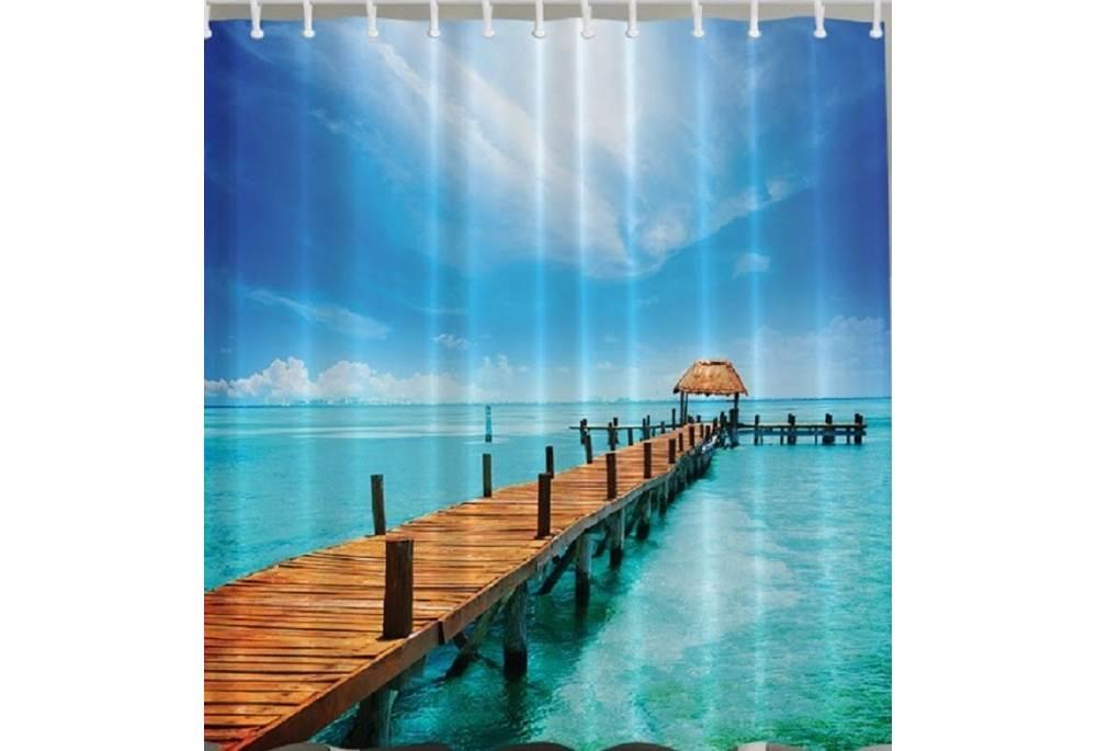 Tropical Island Gazebo On The Dock Print Shower Curtain