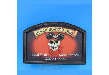 "Wooden Blackbeards Pub Wall Sign 18"""
