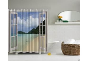 Shower Curtain Open Window on the Beach