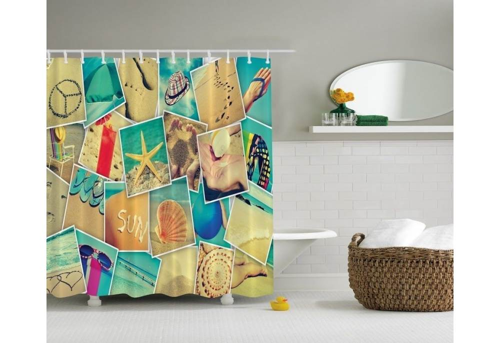 Beach Theme Custom Design Shower Curtain