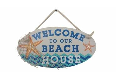 """Wooden Welcome To Our Beach House Sign 15"""""""