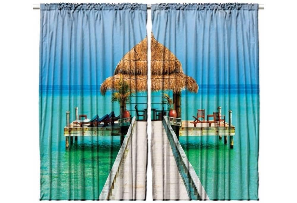 Tropical Island Curtain Panel Set Window Decor