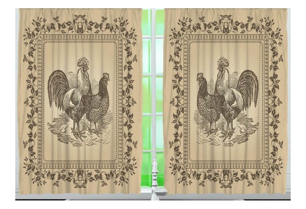 Rooster Kitchen Curtain Panel Set