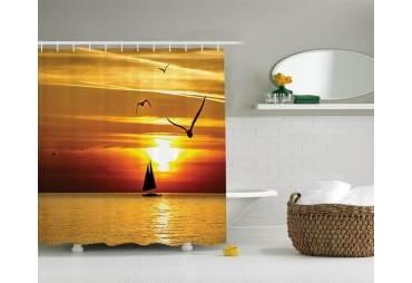 Sunset Sailboat Shower Curtain