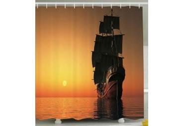 Tall Ship Under Sail Shower Curtain Nautical Decor