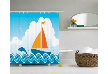 Sailboat In The Ocean Shower Curtain Nautical Decor