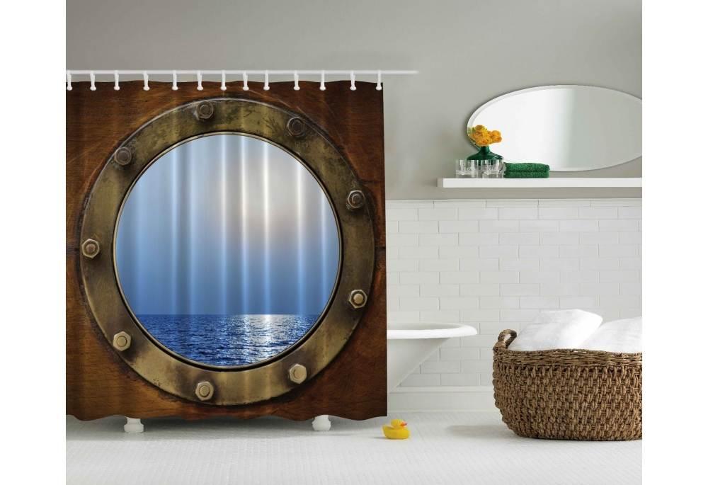 Ships Porthole Digital Print Polyester Fabric Shower Curtain