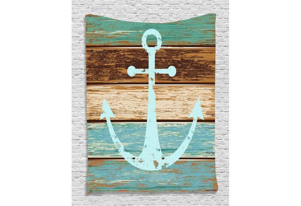 anchor on rustic wood digital printed tapestry