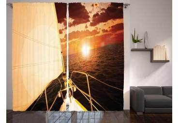 Sailboat at Sea Curtain Panel Set