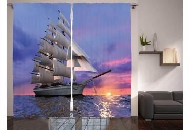 Tall Ship Under Sail Curtain Panel Set