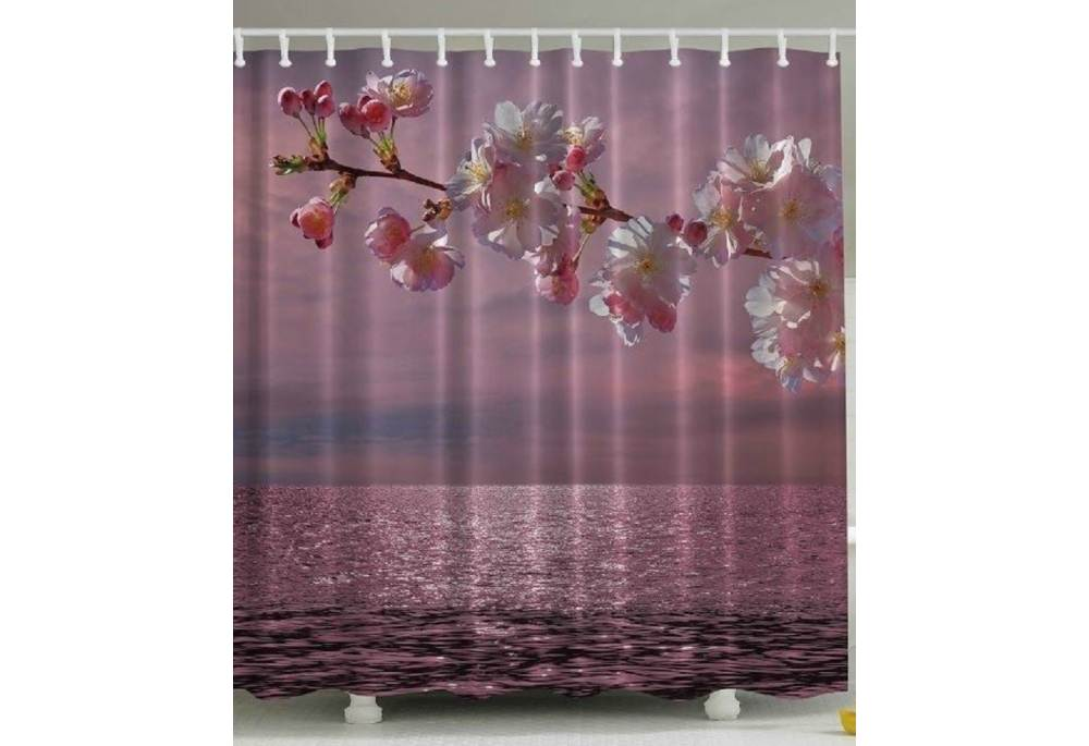 Cherry Blossom On The Beach Shower Curtain