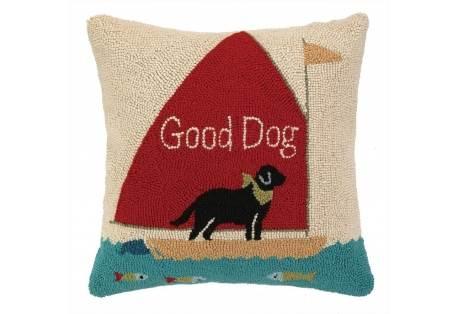 Good Dog Sailing Hand Hooked Pillow