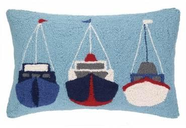 Sailboats Hand Hooked Wool Pillow