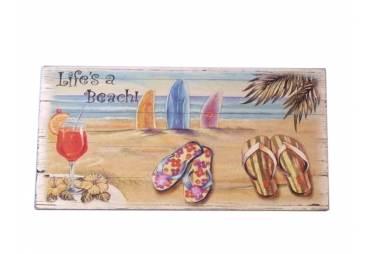 "Wooden Sandal Life's a Beach Sign 10"""