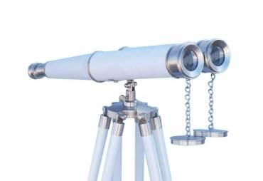 "Hampton Collectible Floor Standing Brushed Nickel with White Leather Binoculars 62"""