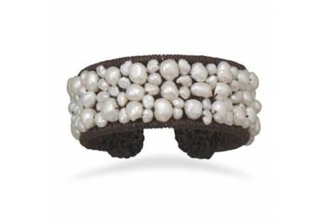 Crochet Flex Cuff with Cultured Freshwater Pearls