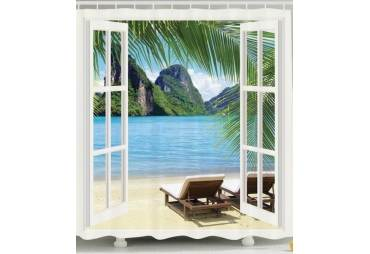Beach Island Custom Made Shower Curtain
