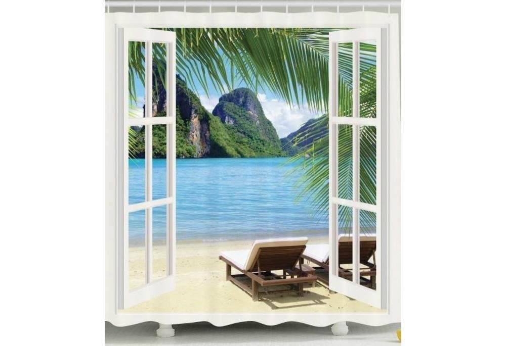 Island Custom Made Shower Curtain