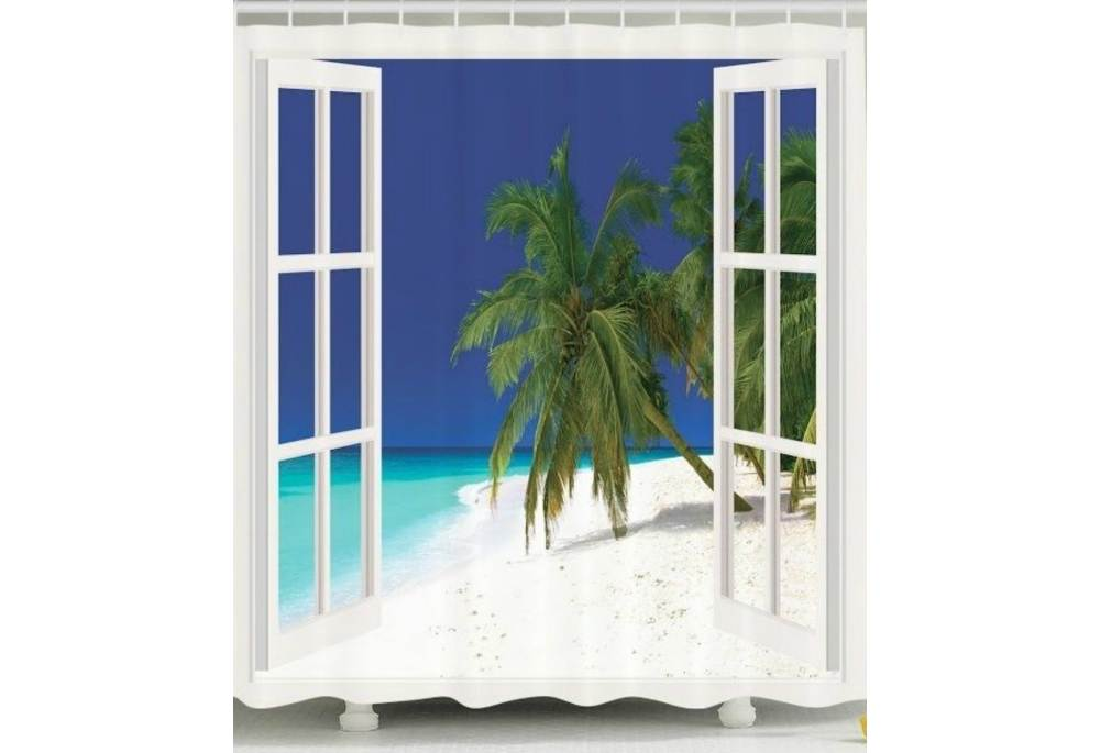 White Sand Beach Shower Curtain Custom Made