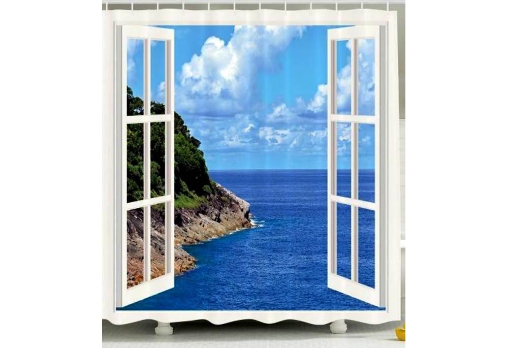 Ocean View Shower Curtain Beach Theme