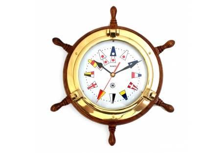 Brass Porthole Clock on Oak Ship's Wheel w/Nautical Signal Flags
