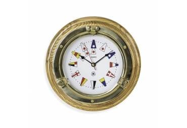 Brass Porthole Clock on Oak w/Nautical Flags Numbers